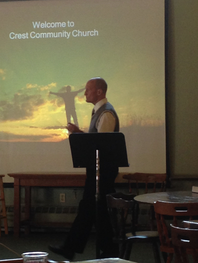 "Joe giving his ""Wreckage to Redemption"" testimony at Crest Community Church in Wildwood Crest, NJ."